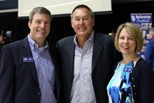 Dwight Clark (center) with Bellarmine president, Chris Meyercord (left) and principal, Kristina Luscher (right)