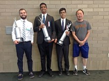 Ani Prabhu and Vinay Ayappan, 2nd Place in Policy Debate, along with their coaches Aaron Langerman and Hoon Ko